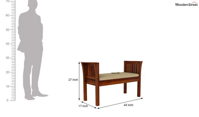 Delano Bench with Upholstery (Honey Finish)-5