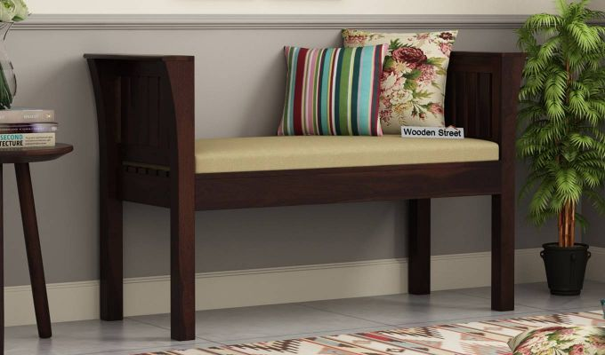 Delano Bench with Upholstery (Walnut Finish)-1