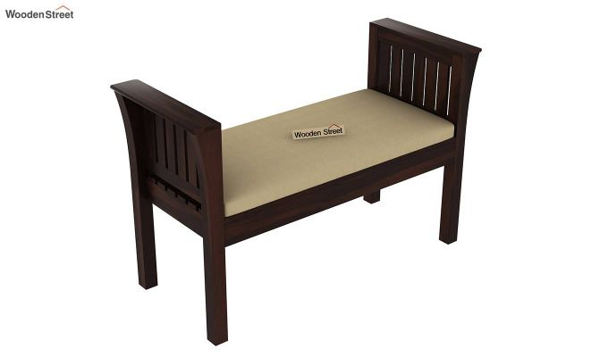 Delano Bench with Upholstery (Walnut Finish)-4