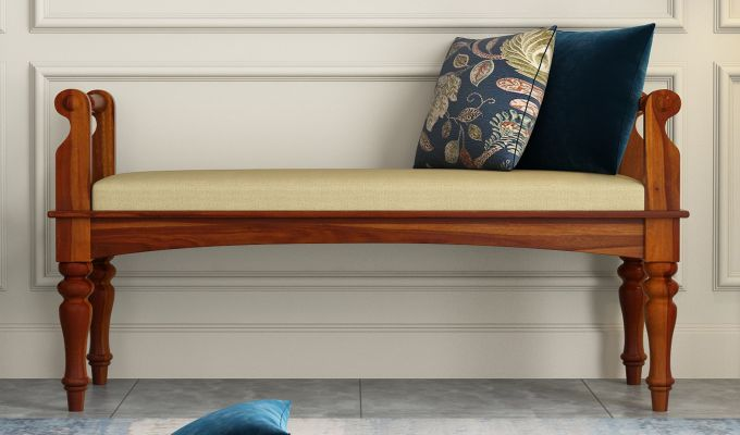 Dominic Bench with Upholstery (Honey Finish)-2
