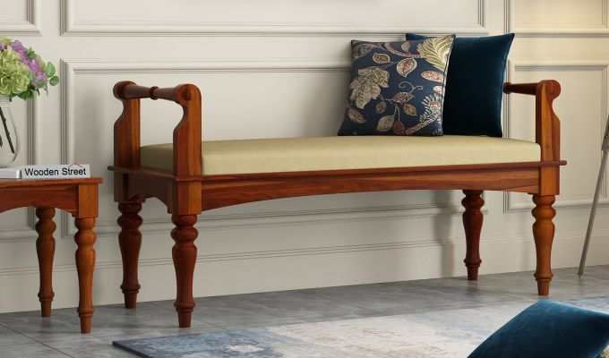 Dominic Bench with Upholstery (Honey Finish)-1