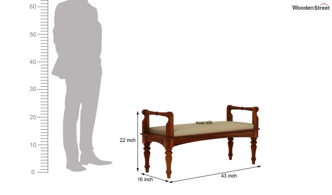 Dominic Bench with Upholstery (Honey Finish)-5