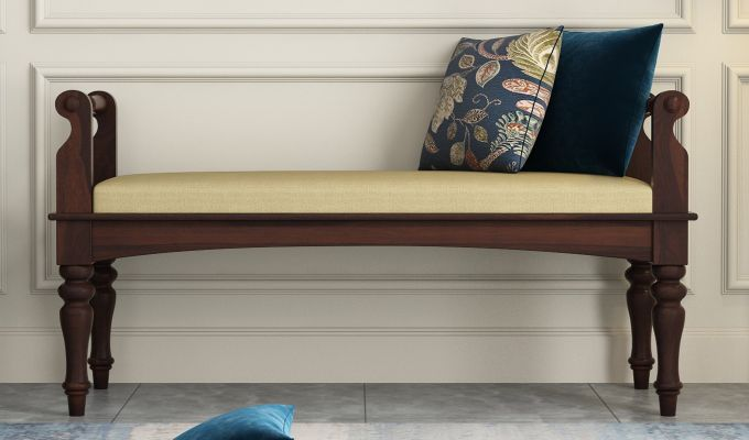 Dominic Bench with Upholstery (Walnut Finish)-2