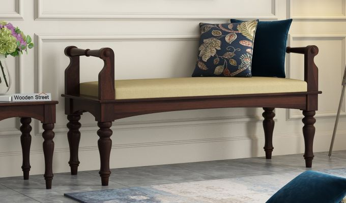 Dominic Bench with Upholstery (Walnut Finish)-1