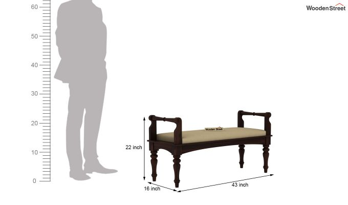 Dominic Bench with Upholstery (Walnut Finish)-5