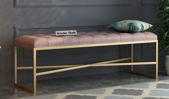 Floss Cross-Legged Bench (Salmon Pink)-1