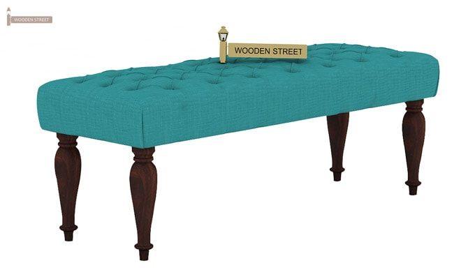 Skane Bench ( Electric Turquoise, Walnut Finish)-2