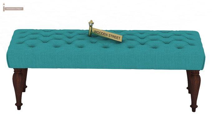 Skane Bench ( Electric Turquoise, Walnut Finish)-3