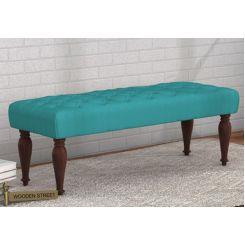 Skane Bench ( Electric Turquoise, Walnut Finish)