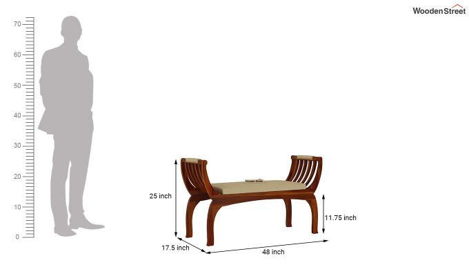 Marine Bench with Upholstery (Honey Finish)-5
