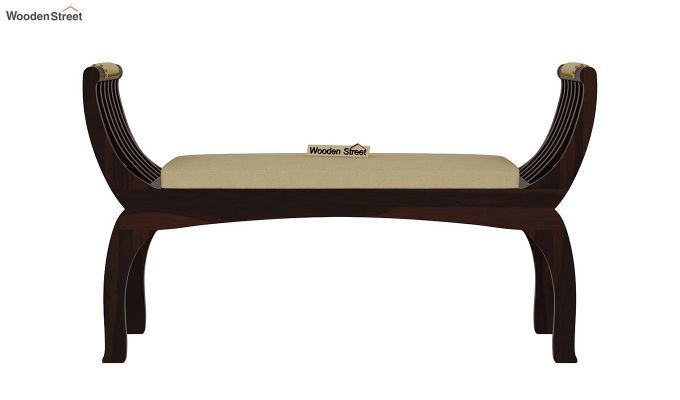 Marine Bench with Upholstery (Walnut Finish)-4