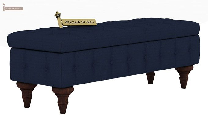 Petrona Bench With Storage (Indigo Ink, Walnut Finish)-2