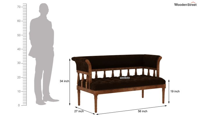 Reyes Bench With Back Rest (Chocolate Brown)-6