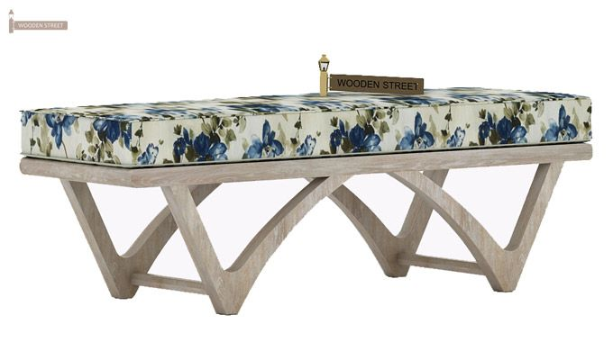 Rosane Floral Bench (Blue, White Distress Finish)-2