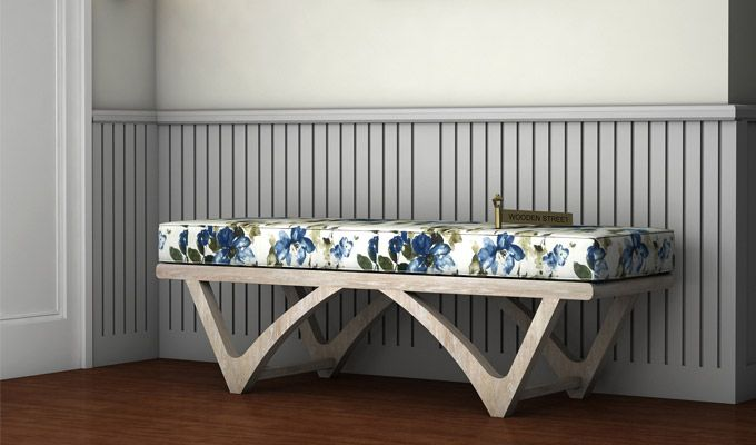 Rosane Floral Bench (Blue, White Distress Finish)-1
