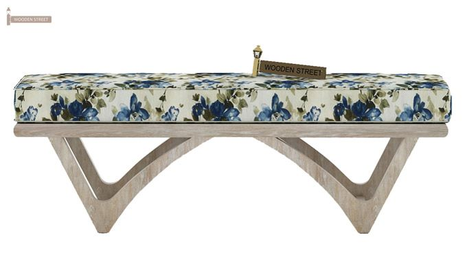 Rosane Floral Bench (Blue, White Distress Finish)-3