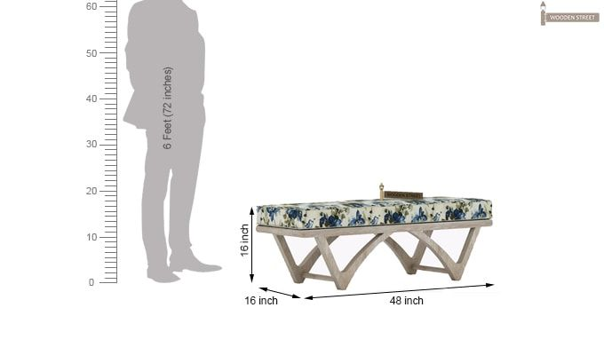 Rosane Floral Bench (Blue, White Distress Finish)-4