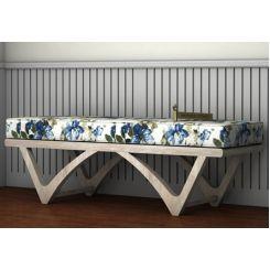 Rosane Floral Bench (Blue, White Distress Finish)