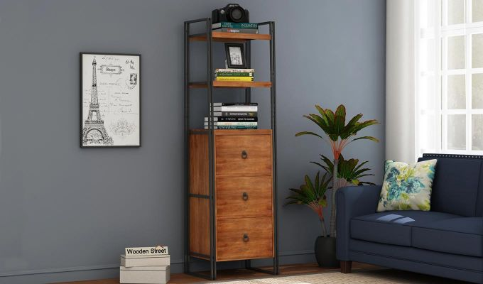Bron Loft BookShelf  With Storage (Teak Finish)-1