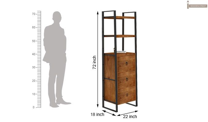 Bron Loft BookShelf  With Storage (Teak Finish)-6