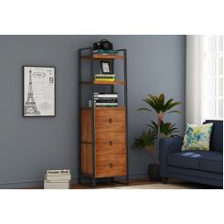 Bron Loft BookShelf  With Storage (Teak Finish)
