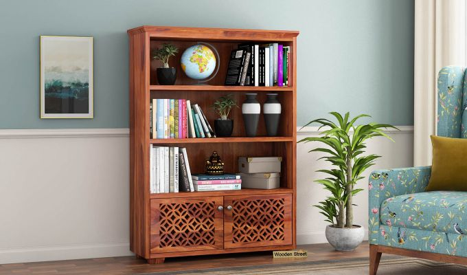 Cambrey Book Shelves (Honey Finish)-1