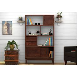 Chesny Bookshelf (Walnut Finish)