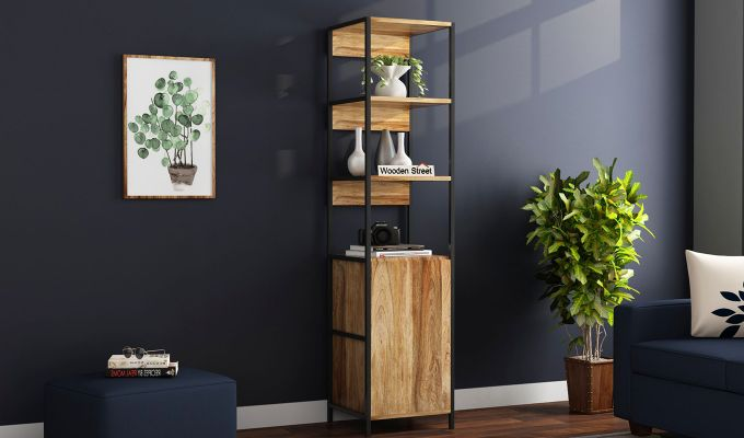 Delvin Loft BookShelf With Storage (Natural Finish)-1