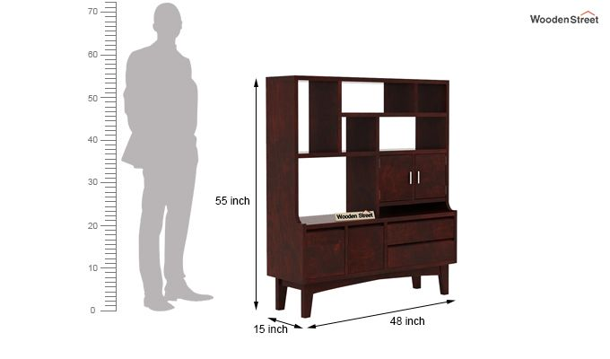 Elstre Bookshelf (Mahogany Finish)-6