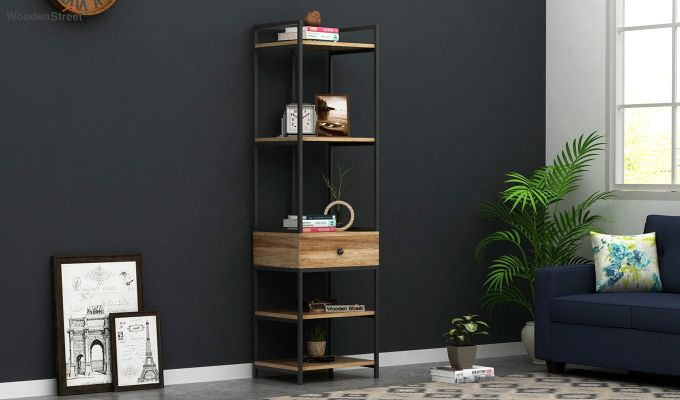 Fortuna Loft BookShelf With Storage Drawer (Natural Finish)-1