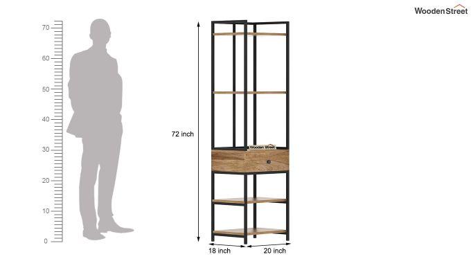 Fortuna Loft BookShelf With Storage Drawer (Natural Finish)-6