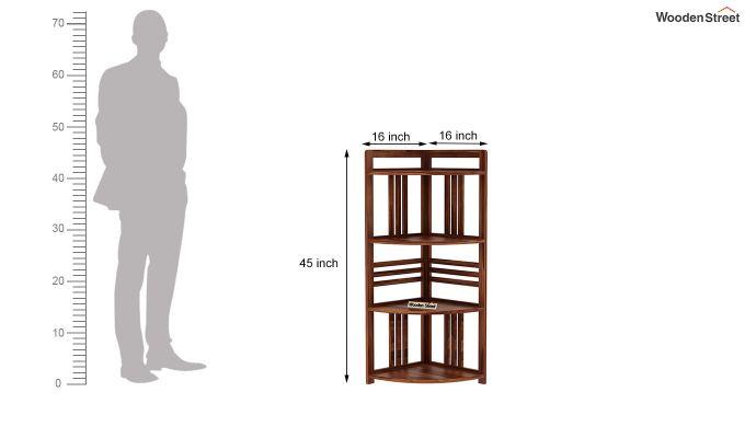 Hamlin Corner Bookshelf (Teak Finish)-4