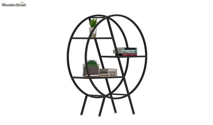Milan Loft Round 3 Shelf BookShelf (Natural Finish)-2
