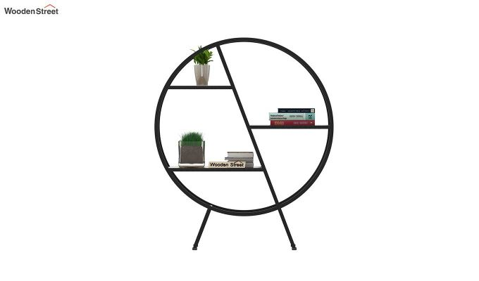 Milan Loft Round 3 Shelf BookShelf (Natural Finish)-3