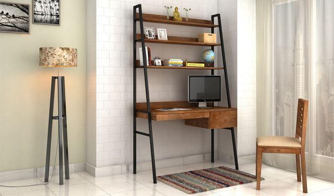 Olay Loft Study Table With BookShelf (Teak Finish)-1