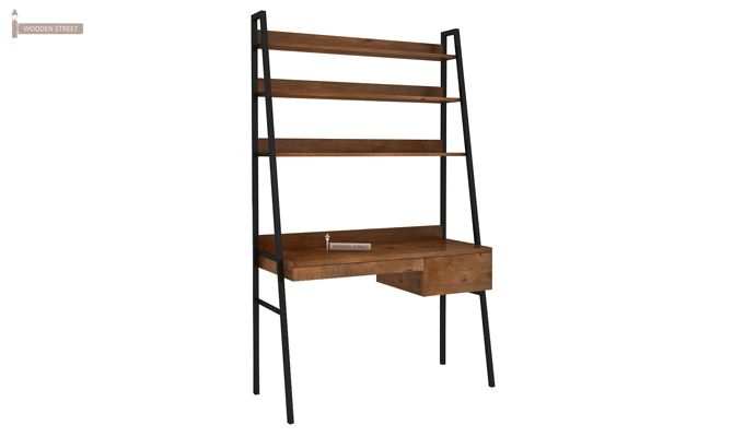 Olay Loft Study Table With BookShelf (Teak Finish)-5