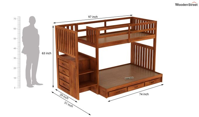 Cheshire Bunk Bed With Storage (Honey Finish)-7
