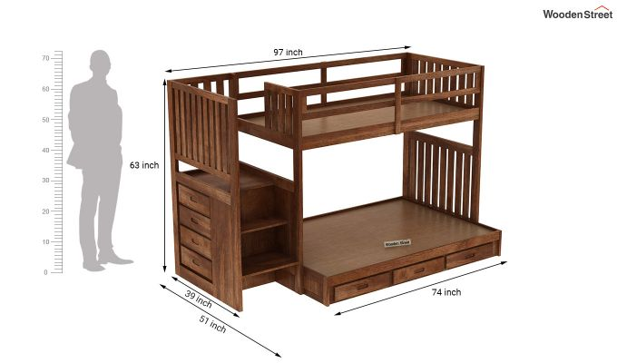 Cheshire Bunk Bed With Storage (Teak Finish)-7