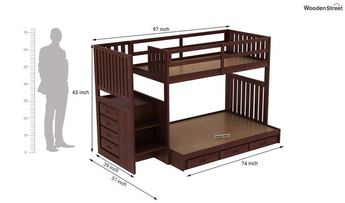 Cheshire Bunk Bed With Storage (Walnut Finish)-7