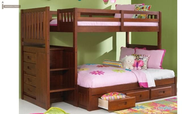 Cheshire Bunk Bed With Storage (Dark Teak Finish)-1