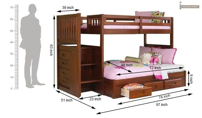 Cheshire Bunk Bed With Storage (Dark Teak Finish)-3
