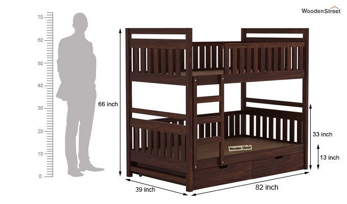 Douglas Bunk Bed (Walnut Finish)-7