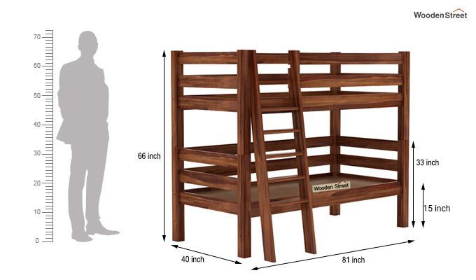 Hout Bunk Bed (Teak Finish)-7