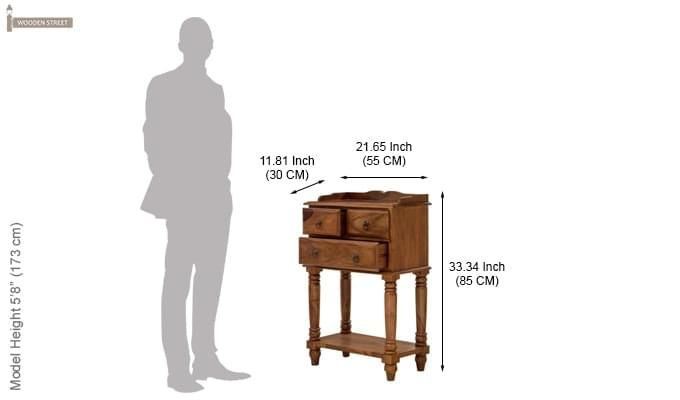 Alston Bedside Table (Teak Finish)-4