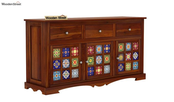 Boho Sideboard With Three Drawers (Honey Finish)-2
