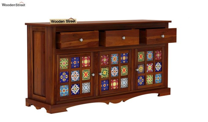 Boho Sideboard With Three Drawers (Honey Finish)-4