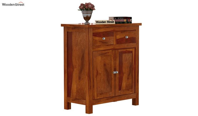 Clovis Cabinet With Drawers (Honey Finish)-1