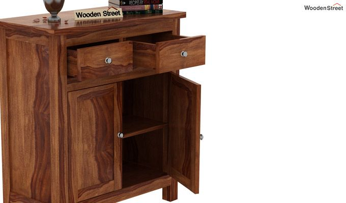 Clovis Cabinet With Drawers (Teak Finish)-5