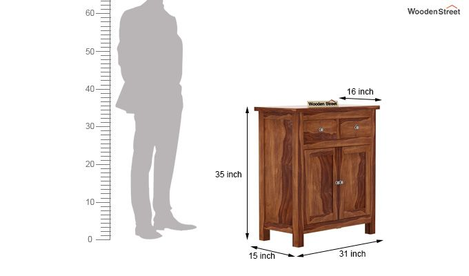 Clovis Cabinet With Drawers (Teak Finish)-6