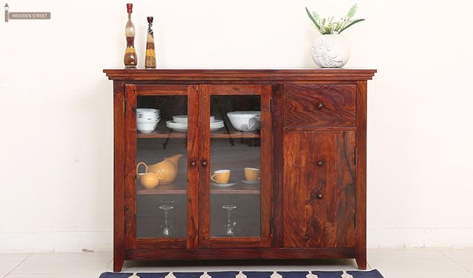 Earnville Kitchen Cabinet (Honey Finish)-1